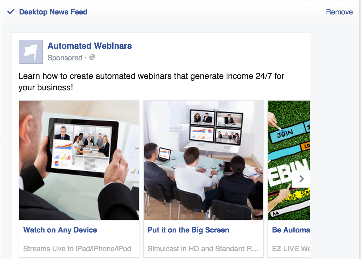 how to create unlimited products carousel facebook